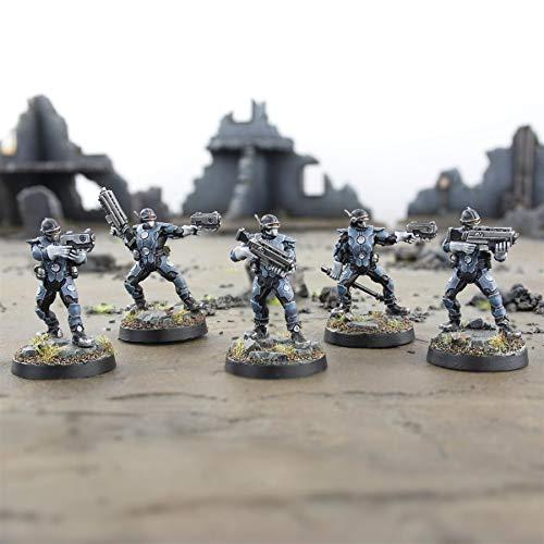 War World Gaming - Law Enforcement Officers - Set Completo - 28mm Heroica Sci-Fi Wargame Miniaturas Figuras Policia Agente de la Ley Minis Wargaming Futurístas