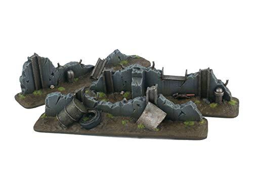 War World Gaming War-Torn City - Barricadas Defensivas x 3 - Escala 28mm/Heroica, Sci-Fi, Wargame Futurista, Miniaturas, Apocalipsis Zombi, Necromunda, Wargaming
