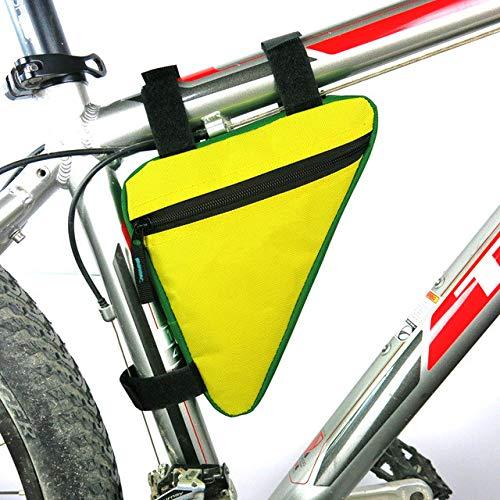 WEHONG Bolsa De Bicicleta Bolsa De Triángulo Impermeable para Bicicleta Almacenamiento De Teléfono Móvil Bolsa De Ciclismo Bolsa De Cuadro De Bicicleta Equipos De CiclismoC-Amarillo