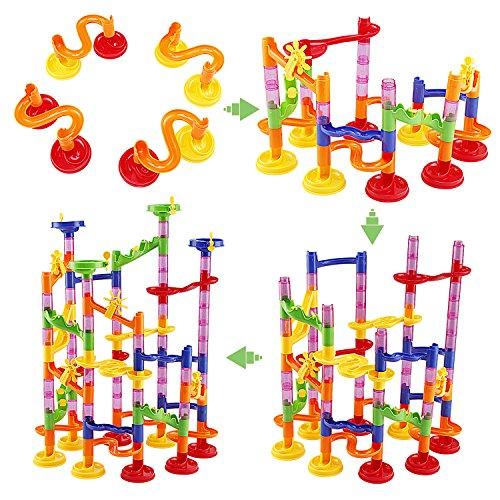 WloveTravel Marble Run Railway Toy DIY Building Blocks Marble Runs Coaster Railway Construction Juego de Mármol para 4 años de Edad, niños niñas Juguete de Regalo