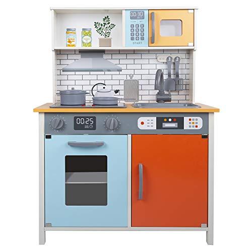 WOOMAX madera, Set niños 3 años, Accesorios utensilios, Juguete Luz y Sonidos, Juego de imitación, Cocina infantil color naranja, (Colorbaby 85382)