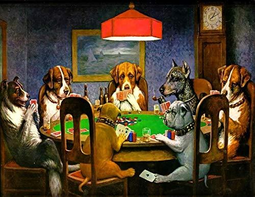 WZZPSD Rompecabezas 1000 Piezas Pantera Negra En El Bosque Perro Jugando Al Poker. DIY Rompecabezas De Madera Estilo De Decoración para El Hogar