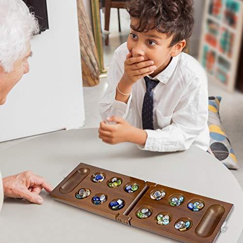 Xeroy Juego De Mesa Mancala con Piedras, Juego De Mesa Mancala Plegable De Madera para Niños, Juego De Rompecabezas De Madera para Adultos, 48 Gemas + 5 Gemas