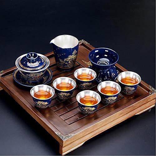 XMQW Juego de té de China, gaiwan de Plata Chino Tradicional casa Kit Grande Kung fu Taza de té,A