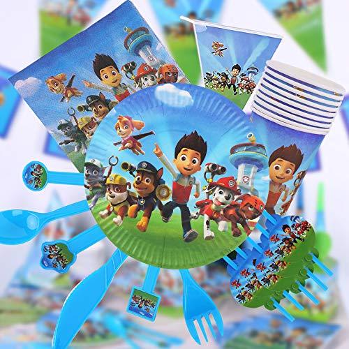 Yisscen Juego de vajilla para fiestas, decoración de cumpleaños para niños, Paw Dog Patrol fiestas de cumpleaños infantiles, platos, tazas, servilletas, manteles, tenedores, banners (82 piezas)