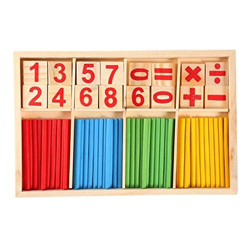 Yosoo Matemáticas Manipuladores De Madera Barras de Contar Palos Tarjetas de Números Bloques de Construcción Juguetes Educativos