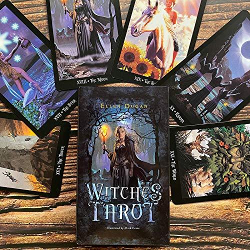 YOYOTECH Baraja de Tarot de Brujas 78 Cartas Indicador de Destino Futuro Cartas de Pronóstico Juego de Mesa de Regalo Juego de Mesa
