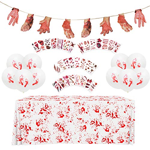 ZERHOK 42 Piezas Juego de decoración de Halloween Pancarta de Mantel Ensangrentado Manos Cortadas Pies Pegatinas de Tatuaje de Terror para Decoración de la Casa Embrujada Accesorios de Carnaval