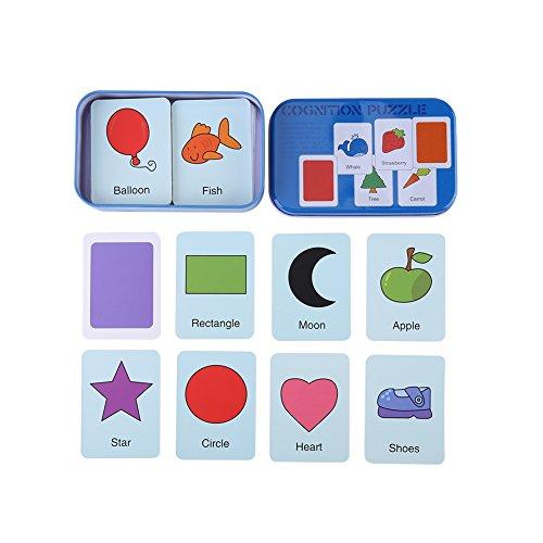 Zerodis Linda CogniciónPuzzle Tarjetas En Caja de Almacenamiento de Metal, Números/Letras/Formas/Animales Juguetes de Aprendizaje temprano para niños pequeños 0-6 años de Edad Regalo(#2)