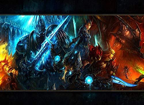 1000 Piezas Rompecabezas Adultos Adolescentes World of Warcraft Rompecabezas de Bricolaje Dificultad Media Alta definición Juego de Rompecabezas de Piso de impresión 38 * 26cm