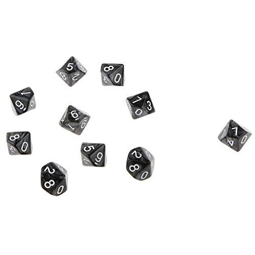 10pcs Juegos de Mesa Dados de Diez Caras 0~9 D & D TRPG - Negro