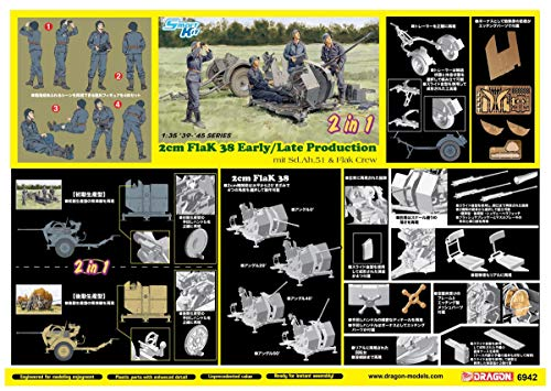 1/35 2cm Flak 38 Early/Late Production mit Sd.Ah.51 and Crew (2 in 1)