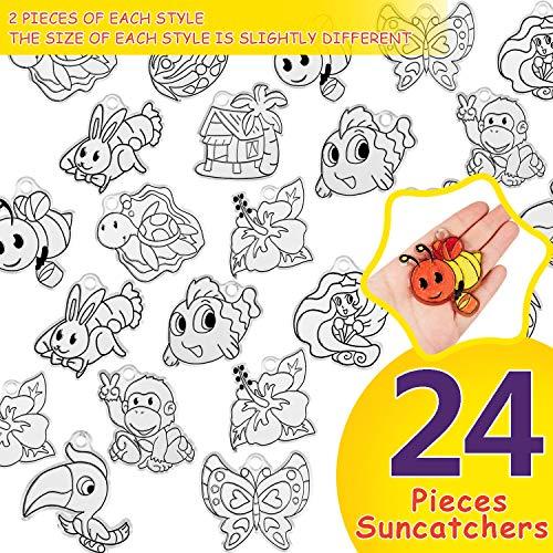 158 Piezas Kit de Adornos Atrapasoles Incluye 24 Piezas Arte de Atrapasoles de Mariposa Insecto Flor Abeja Pájaro con 24 Cintas, 10 Llaveros y 100 Anillos de Salto Abiertos para Artes y Manualidades