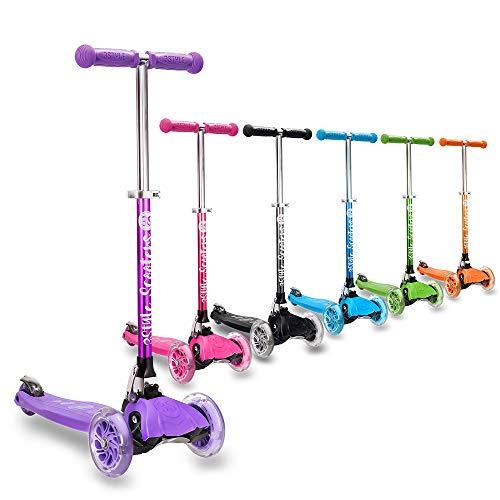 3StyleScooters® RGS-1 Patinete Scooter Tres Ruedas para Niños Pequeños Niños de 3 Años o Más con Luces LED en Las Ruedas, Diseño Plegable, Manillar Ajustable (Morado)