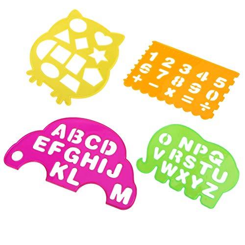 4 piezas Reglas de dibujo, letras geométricas del alfabeto regla de dibujo temprano juguetes de aprendizaje flexible plantilla decorativa multifuncional plantilla de dibujo para niños pequeños