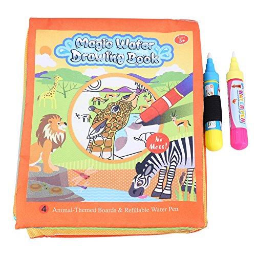 Agua Para Colorear Doodle Libro de Tela Animales Pintura Mágica Juguete Lío Reutilizable Estera Para Dibujar Con 2 Plumas de Agua Para Bebés, Niños Educación de Aprendizaje Temprano