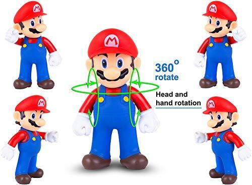 AINOLWAY 6 Piezas/Set Super Mario Toys - Figuras de Mario y Luigi - Figuras de acción de Yoshi y Mario Bros Figuras de Juguete de PVC de Mario