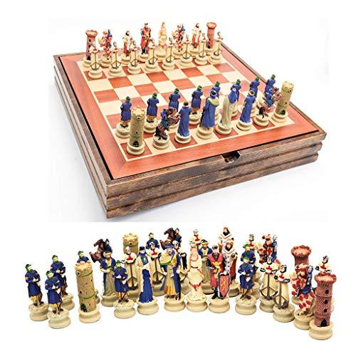 Ajedrez Conjunto de ajedrez de madera maciza Tema de Crusader de la guerra civil Conjuntos de ajedrez de resina Piezas de ajedrez de madera Juego de mesa de madera Ajedrez de lujo Ajedrez Tablero