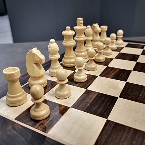 Ajedrez Conjunto de ajedrez de Madera magnética con Caja de Almacenamiento de Flocado Plegable Juego de Juegos de Mesa de Almacenamiento Interior Juego de Familia Junta de ajedrez Juego de Ajedrez