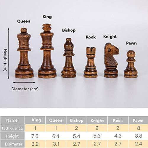 Ajedrez Juego de ajedrez grande plegable de madera de grado superior Trabajo hecho a mano Piezas de madera maciza Tablero de ajedrez de nogal Juego de mesa de regalo de entretenimiento for niños Ajedr