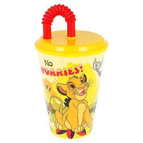 ALMACENESADAN 2634; Vaso caña Rey León, Producto Disney; Producto de plástico; No BPA, Capacidad 430 ml.