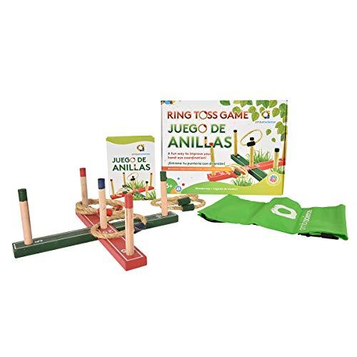 ambarscience Anillas-Juego Tradicional en Madera para niños e Adultos, para Jugar al Aire Libre o en el Interior. (Ambar Passion S.A. 108000070118)