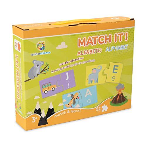 ambarscience- Match it - Alfabeto - Juego Rompecabezas Educativo de 52 Piezas para Aprender el abecedario, con imágenes y Letras para niños 3+. (Ambar Passion S.A. 6162840080020)