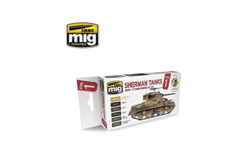 AMMO WWII Commonwealth Sherman Tanks-Juego de Pintura acrílica, Multicolor MIG-7169