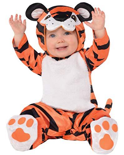 amscan 10132320 - Disfraz pequeño con capucha de cabeza de tigre (12 a 24 meses)