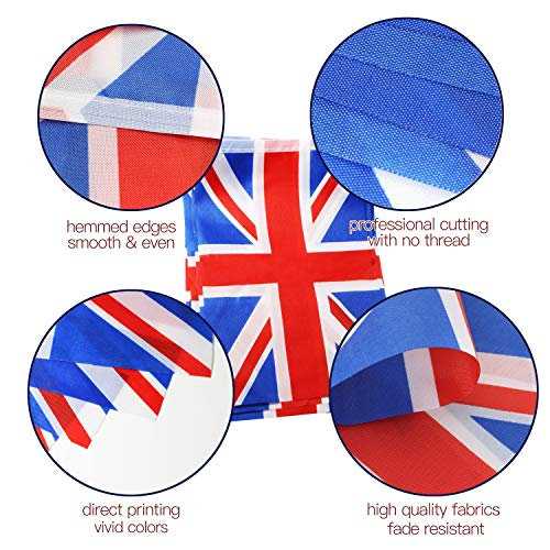 Anley? Banderines de Reino Unido de Gran Bretaña e Irlanda del Norte, Eventos patrióticos, cumpleaños de su Majestad, Reina Elizabeth, decoración de Barras Deportivas, 33 pies, 38 Banderas