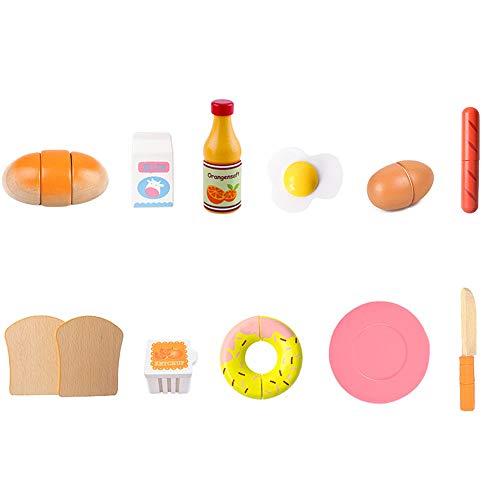 Arkmiido Juego de Tostadora de Juguete,Utensilios Cocina Juguete,Madera con Accesorios de Cocina Tradicionales Simulados Juego de Roles Regalo Cumpleaños para Niños Niñas