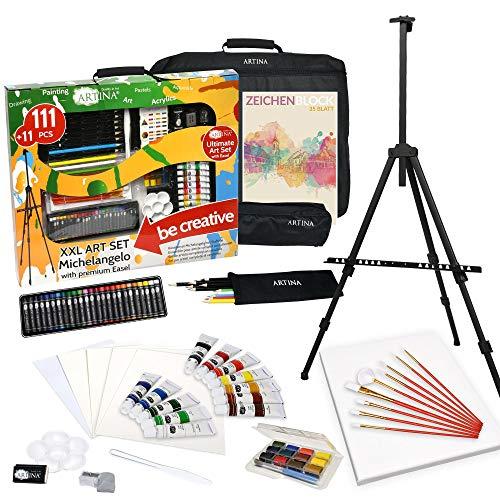 Artina Set de Pintura XXL de 122 Piezas Michelangelo Caballete & Set de Artista con lápices de Colores, Set de Pinceles, Colores acrílicos, Acuarelas.etc