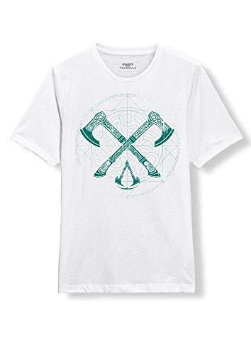 Assassin's Creed Camiseta de Hombre Crossaxe Valhalla algodón Blanco - L