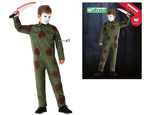 Atosa-65834 Disfraz Asesino, color verde, 7-9 Años (65834)