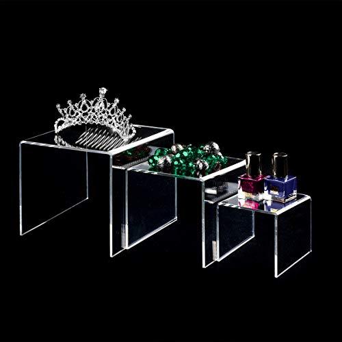 AUFIKR Soportes de exhibición de acrílico Transparente, 2 Juegos de 3 estantes de exhibición para Figuras, buffets, Cupcakes y Soportes de exhibición de joyería, con película Protectora pegajosa