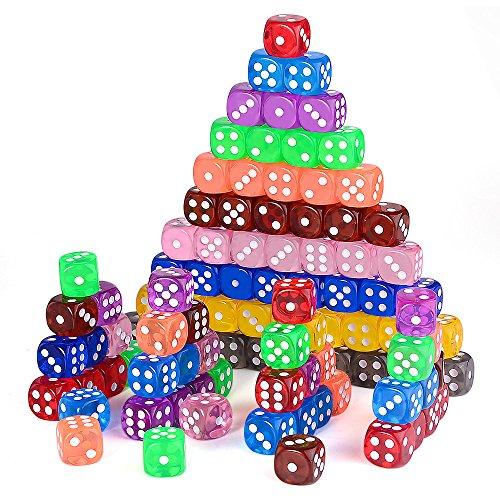 AUSTOR 100 Piezas 6 - Caras Dados Set (Free Bolsa), 10 Colores Diferentes 16mm acrílico Dados para Tenzi, Farkle, Yahtzee, Bunco o la enseñanza de Las matemáticas