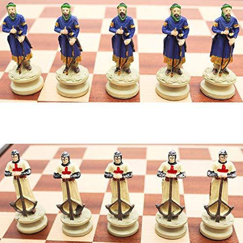 Aveo Juego de ajedrez de madera maciza, juego de ajedrez con tema de la guerra civil, juego de ajedrez de resina, juego de mesa temático de ajedrez de lujo (tamaño : 36,5 cm)