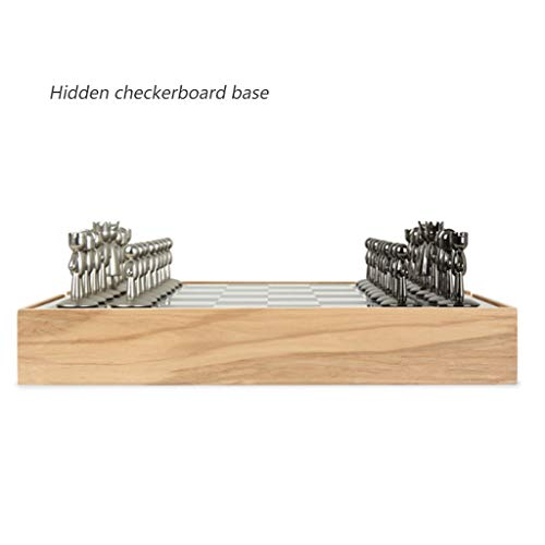 Aveo Juego de ajedrez de metal tridimensional, juego de ajedrez de gama alta, ajedrez nórdico, juego de ajedrez Friends (color: A)