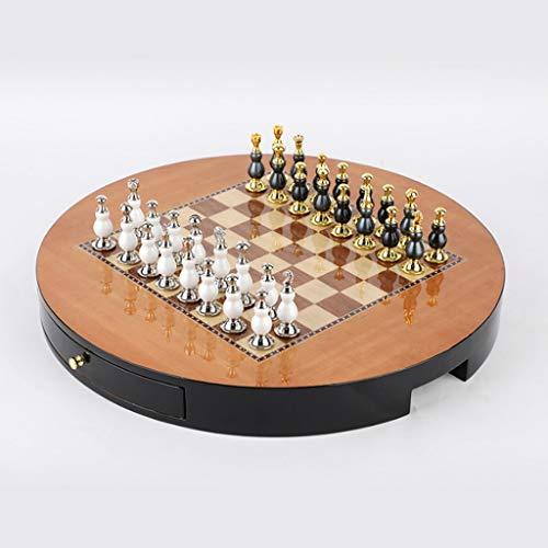 Aveo Juego de ajedrez semi-hecho a mano, ajedrez de madera, juego de ajedrez de gama alta, juego de ajedrez de mesa creativamente decorado, ajedrez decoración de mesa (color: redondo)