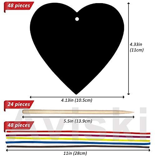 Aviski Scratch Art para Niños 48 Pcs, Arte con Arcoíris en Forma de Corazón, Arte para Rascar con Lápices y Cintas de Madera para Niños, Artes Decorativas y Manualidades, Boda del Día de San Valentín