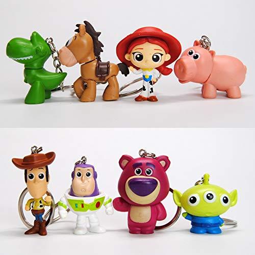 BAIBEI 4 Piezas Toy Story Llaveros,Película Figura de acción Llavero,para Bolso, Mochila, Teléfono Móvil, Accesorio de Bolso, Llavero de Coche Decoración Accesorio
