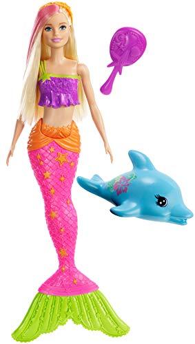 Barbie Muñeca Sirena con delfín y Accesorios, Juguetes +3 años (Mattel GGG58)
