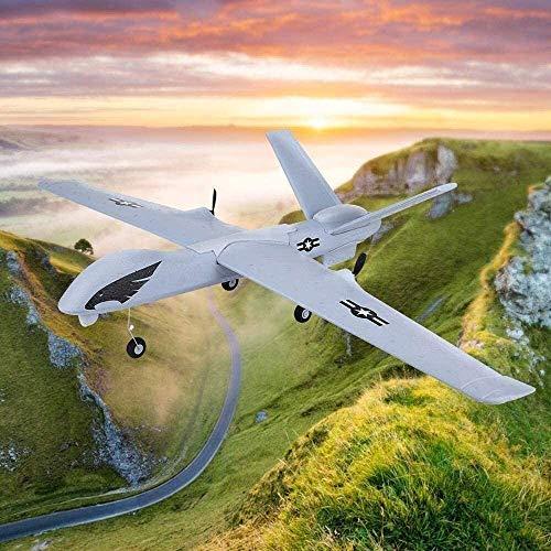 Bck Avión de control remoto profesional de 2,4 GHz 2 canales de radio control de aviones de juguete 66cm PPE material de simulación Predator Drone juego entre padres e hijos for el regalo de los niños
