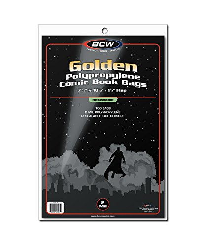 BCW 1-GOL-R Bolsas de cómic doradas resellables