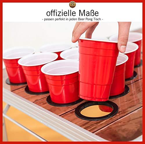 BeerBaller® - Juego de 50 vasos rojos de cerveza y 3 bolas de pong de cerveza, 473 ml, diseño retro americano para tu fiesta de estudiante, festival y torneos de Beerpong