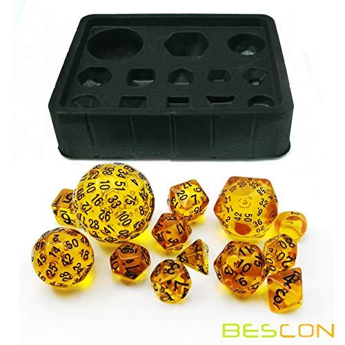 Bescon Amber Complete Polyhedral RPG Dice Set 13pcs D3-D100