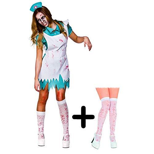 Bloodthirsty Zombie Nurse + Stockings Halloween Ladies Fancy Dress Adult Costume XL (UK: 22-24)