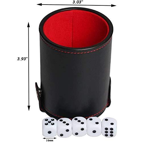 Boyigog Taza de Dados, Juego de Dados con Cubilete Poker, Vaso de Dados de Cuero de Doble Capa con Cinco Dados