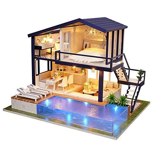 Bricolaje Casa de Muñecas de Madera de Diseño, con Luces+Piscina Privada, Miniatura con Todos los Muebles, Casa de Muñecas, Juego de Descompresión(CON/SIN Cubierta de Polvo)(SIN Cubierta de polvo)