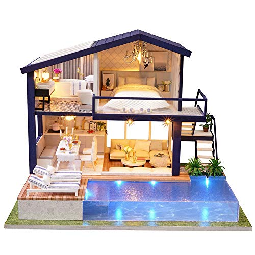 Cafopgrill Kit de casa de mu?ecas en Miniatura de Bricolaje, casa Verde con Muebles y LED, Kit de casa de mu?ecas de Madera, el Mejor Adorno Decorativo para ni?os peque?os(Without Dustcover)